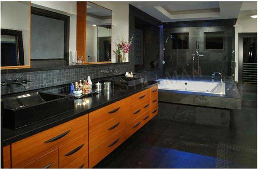 Streamlined, modern master bathroom.