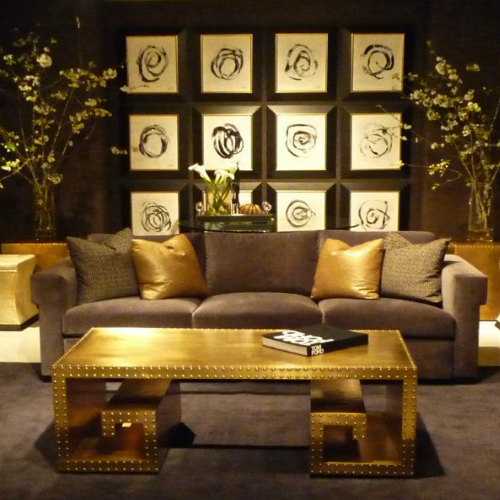 Living room showing brass decor
