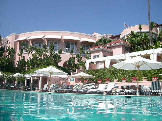 Beverly Hills Hotel as seen from the pool