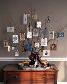Branch twigs used as Christmas decorations in this foyer.