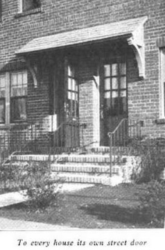 Every unit in the Bridgeport housing development had its own front door to the street