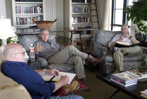 George W Bush with Cabinet members at Crawford Ranch