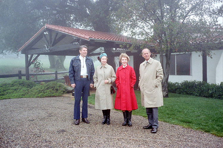 President Reagan and Nancy Reagan posing with Queen Elizabeth II and Prince Philip of the United Kingdom