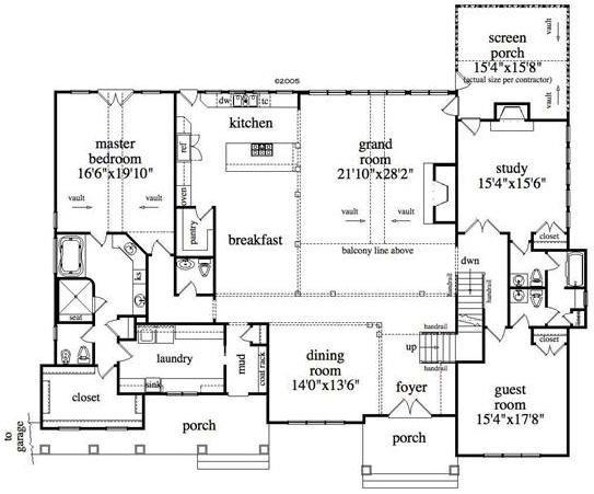 Main level floor plan of House Plan #163-1027