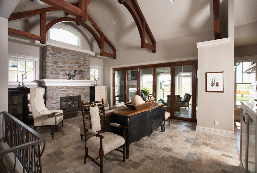 Cathedral ceiling in this modern Craftsman style home.