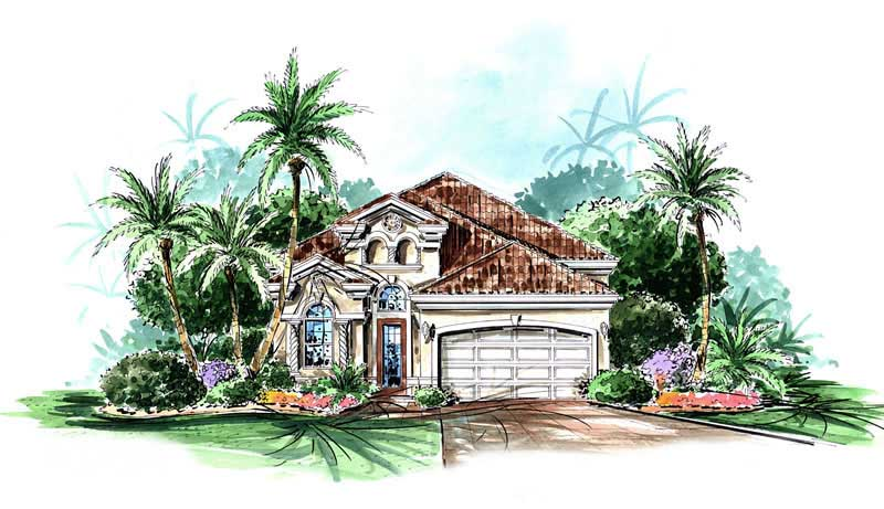 2 bedroom 1802 square foot Florida home plan in Mediterranean style