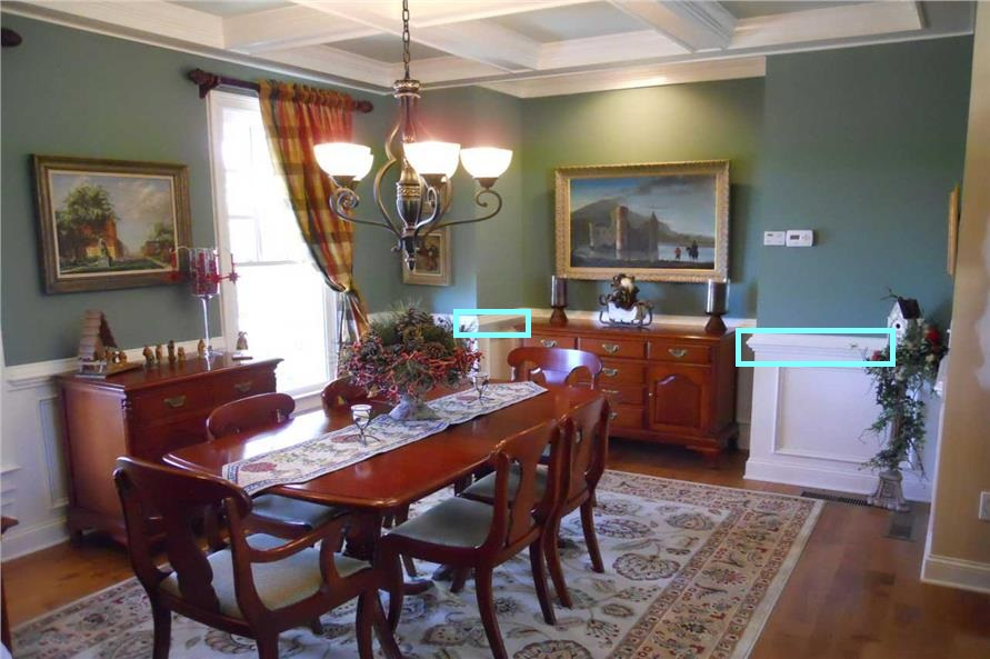 Dining room with chair rail from Plan #163-1020