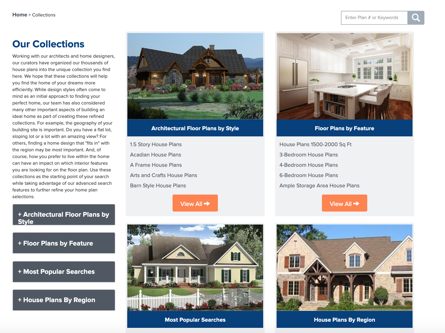 House Plan Collections landing page on The Plan Collection's website