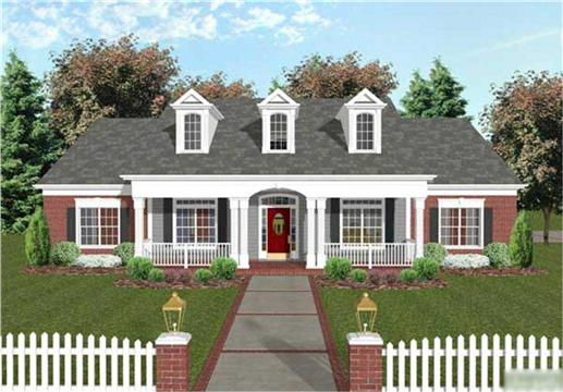 one-story three-bedroom home, starting with the lamp posts, attractive front porch