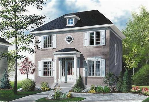 Small contemporary Colonial style home with dormer and front covered stoop.