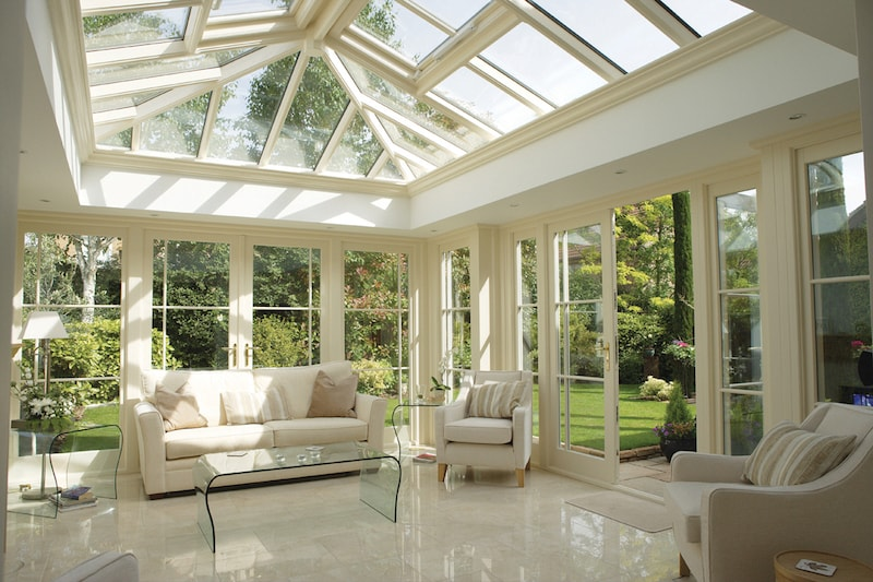 Inside a conservatory, or sunroom