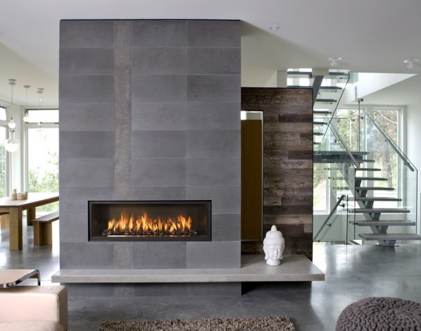 Gray contemporary gas-fired fireplace