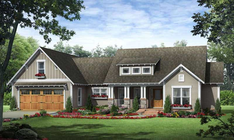 Country home plan with flower planters at each window