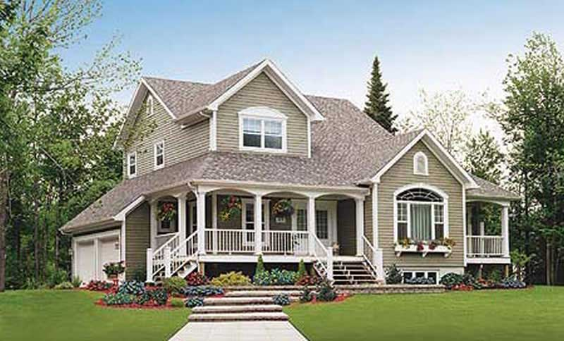 Country home with wraparound porch