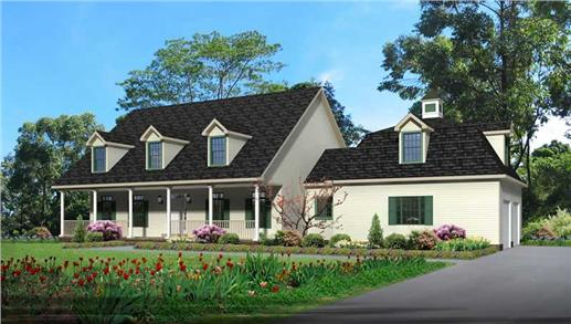 Country house plan with covered front porch #118-1008