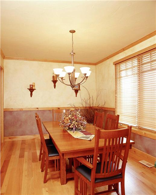 Formal dining room with Craftsman decor.