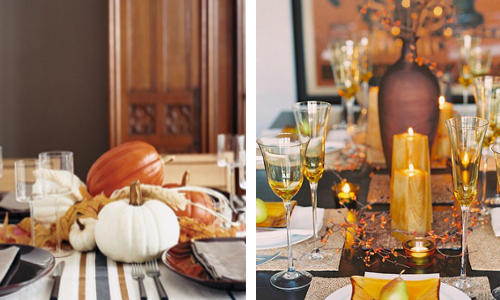 Great ideas for Thanksgiving centerpieces on the dining table.