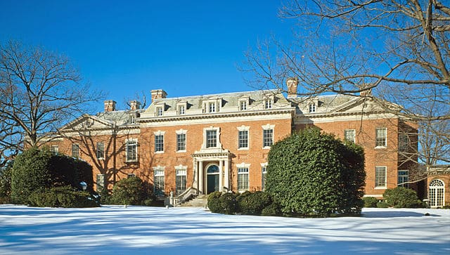 Dumbarton Oaks with its traditional Georgian house design.