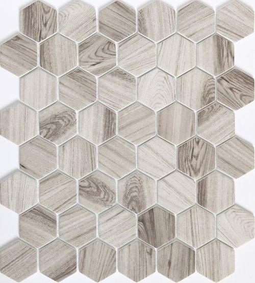 """Echo Gray 2"""" Hexagon / 12"""" x 14"""" Mosaic Mesh"""