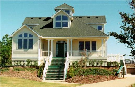 Beachfront home with porch