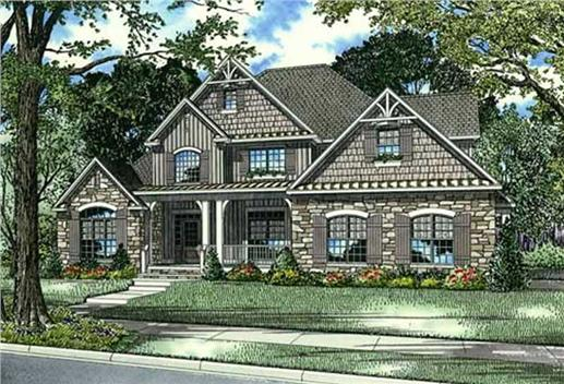 Two story Craftsman plan (153-1786).