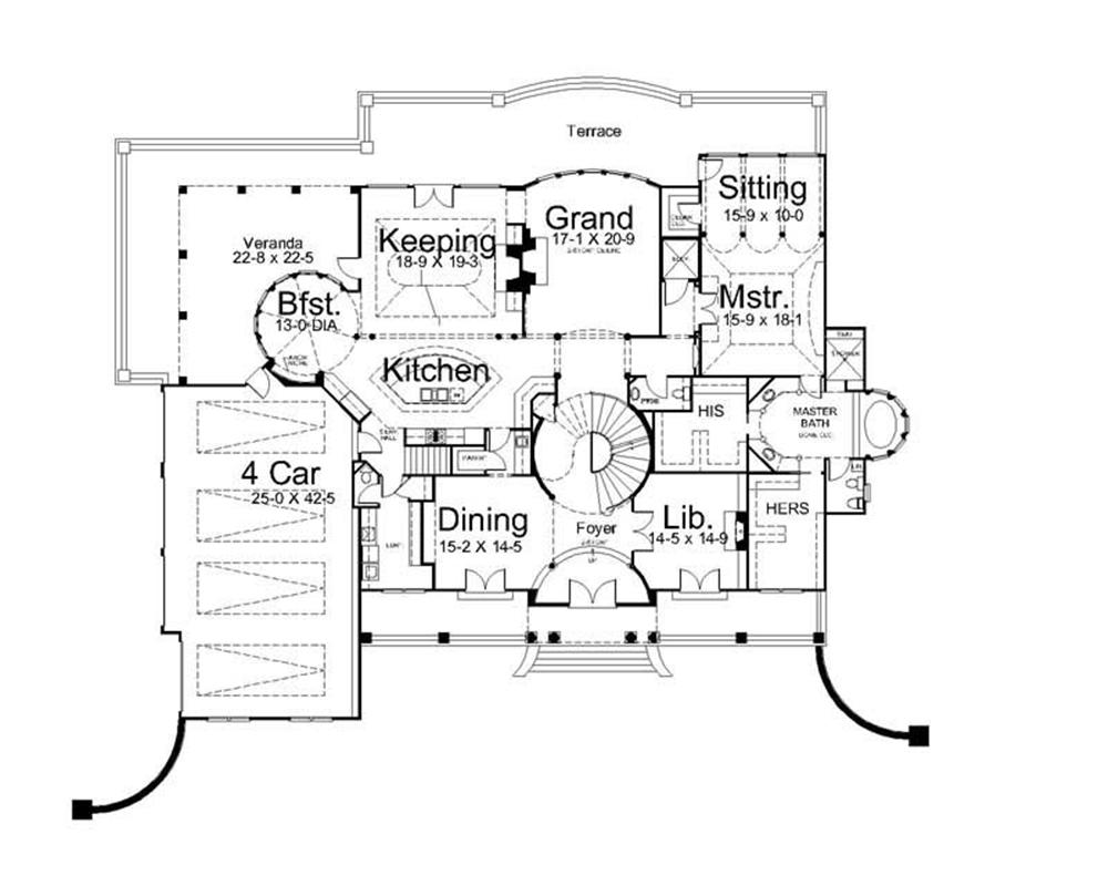 Lavish in every aspect this floor plan shows off the luxury quality of this plan with features like a grand room and sizeable library.