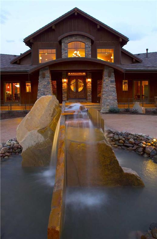 Rock-Meditation Garden in front of House Plan # 161-1017