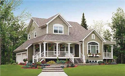 3-Bedroom, 2257 Sq Ft Country Plan with Main Floor Master