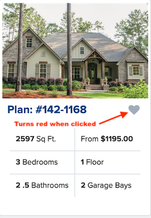 """Plan information box with """"favorite"""" heart that turns red when clicked"""