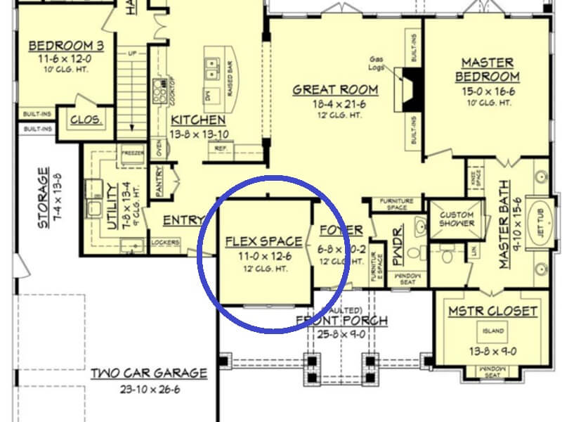 Flex space added to open floor plan - for privacy and quiet