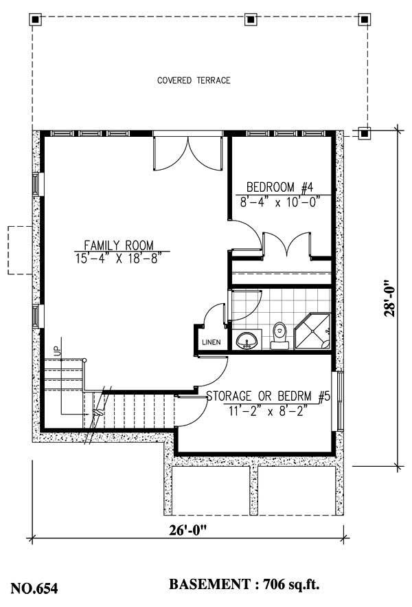 Basement floor plan with family room, additional bedroom and plenty of storage.