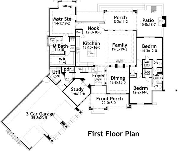117 1094 Blueprint Of Main Level This Texas Style Home