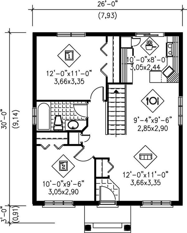 Floor plan of 780-square-foot home