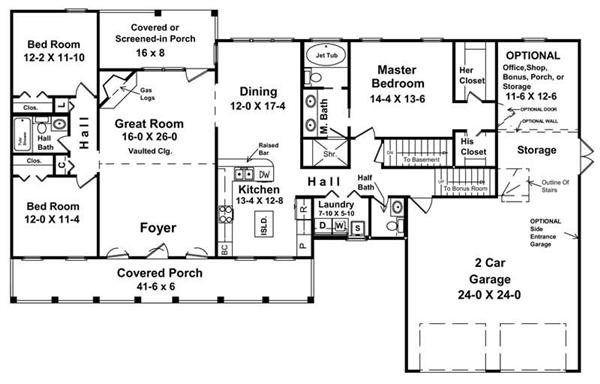 Country Ranch floor plan layout with plenty of storage and optional home office. From The Plan Collection.