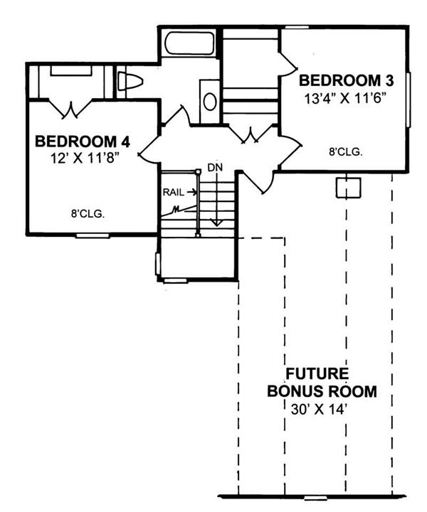 Floor plan (second floor) of French country home with bonus room
