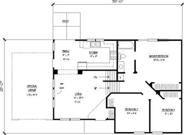 Simple multi-level house plans with rear patio and optional garage.