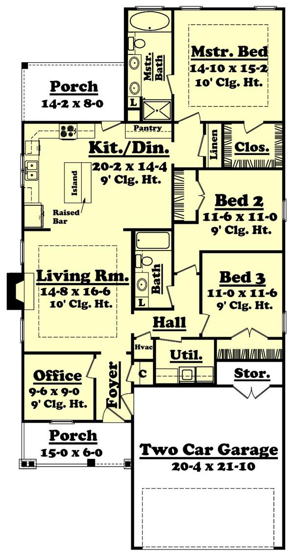 First floor plan for this narrow lot home.