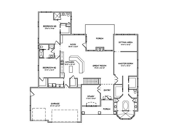 Floor plan of Prairie style plan #148-1027