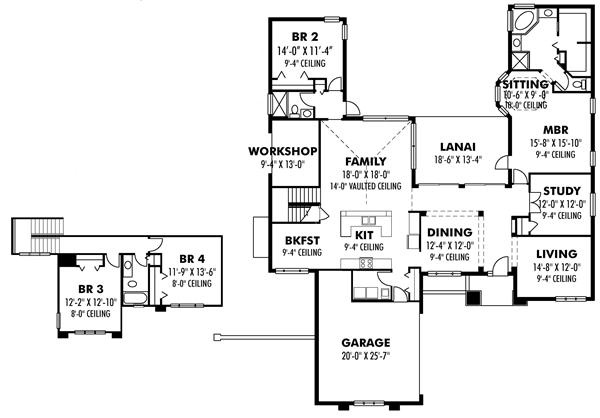 Prairie style house plan transformed american for Prairie floor plans