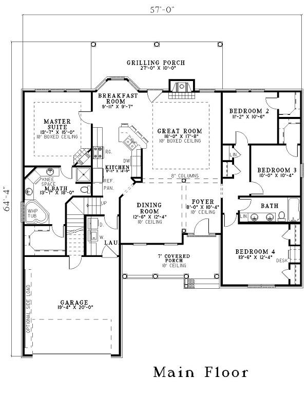 Wonderful floor plan layout with a grilling porch, high ceilings and two fireplace. From The Plan Collection.
