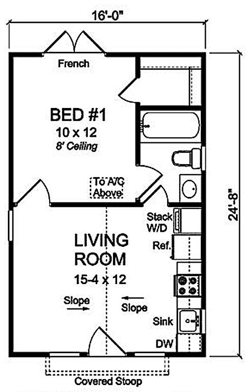 Floor layout of 395-square-foot Cottage home - Plan #178-1345