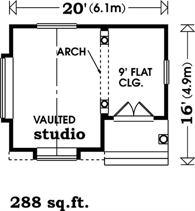 Floor plan of Craftsman style shed plan #167-1085
