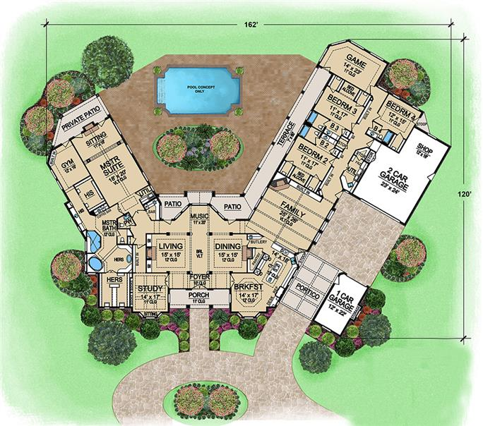 Floor plan of large 1-story home with pool in backyard - Plan #195-1162