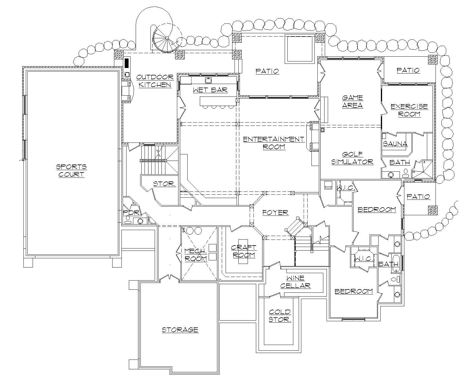 Floor plan of luxury home with sports court on lower level.