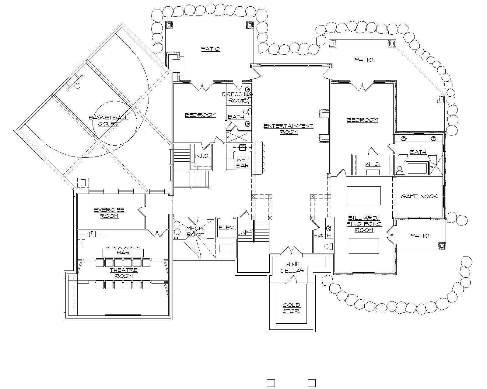 Luxury basement floor plan boasting theater room, basketball court, and billiards room.