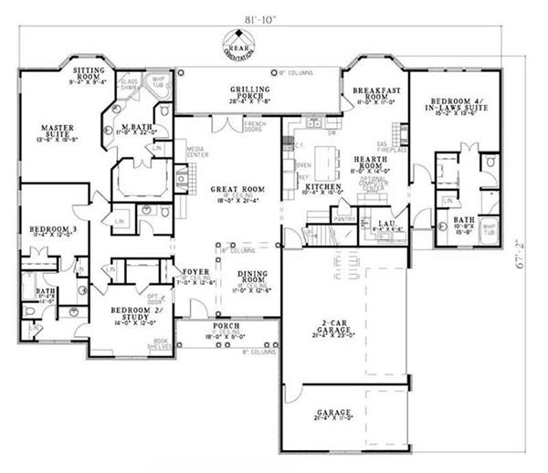 Wonderfully designed open floor plan layout with many amenities including mother in-law suite. From The Plan Collection.