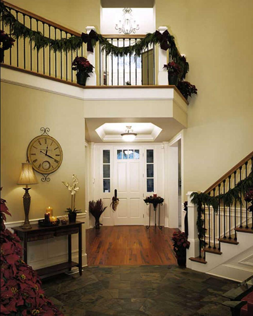 Foyer at Christmas.