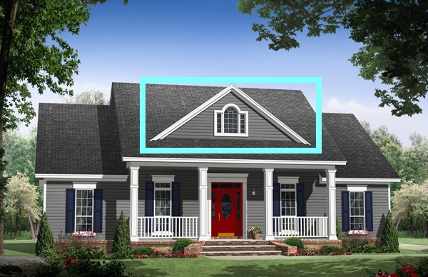 Example of classic gable on roof of country home.