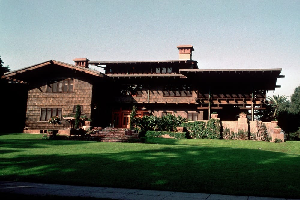 Gamble House - front exterior view from curb - fine example of Arts and Crafts style
