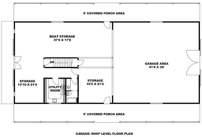 Main level showing garage, boat storage, and other storage of plan #132-1694